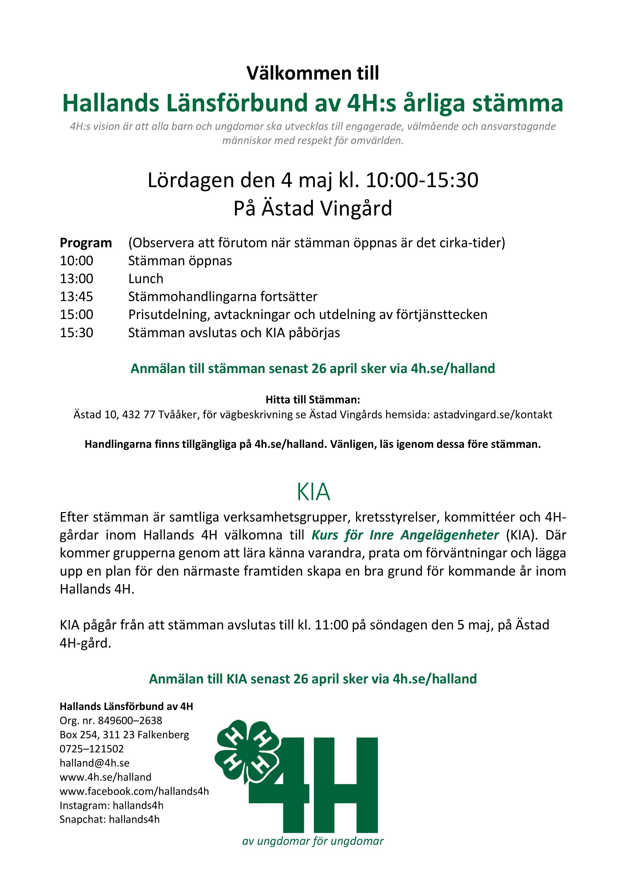 ebd30c68a42 Årsstämma och KIA 2019 - 4H i Halland