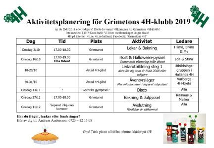 Aktivitetsplanering Grimeton hösten 2019
