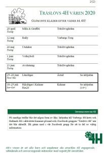 Aktivitetsplanering Träslöv 4H vår 2020 sida 2