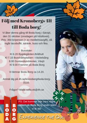 Följ med Kronobergs 4H till Boda borg!